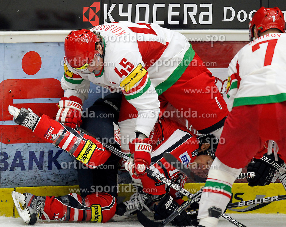 06.04.2012, Stadthalle, Villach, AUT, IIHF, Division I A WM, Vorbereitung, Oesterreich vs Weissrussland, im Bild Sergei Kolosov (BLR)  und Manuel Latusa (AUT) // during the IIHF Division One A World Championship preparation Match, between Austria and Belarus at the Cityhall Villach, Austria on 2012/04/06. EXPA Pictures © 2012, PhotoCredit: EXPA/ Oskar Hoeher.