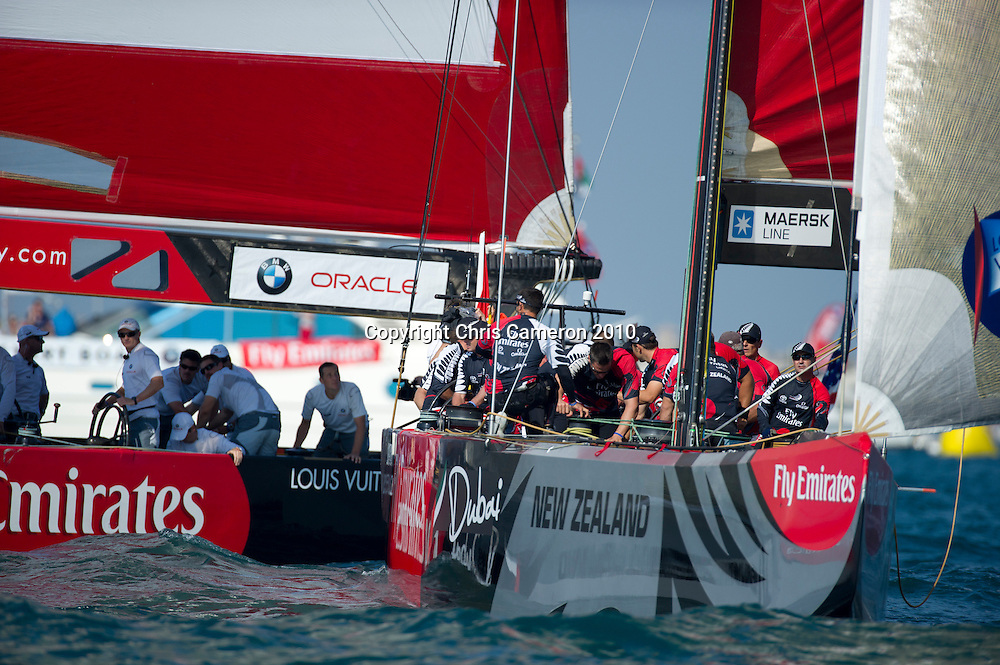 Emirates Team New Zealand sail against BMW Oracle Racing in the final of the Louis Vuiton Trophy Dubai. 27/11/2010