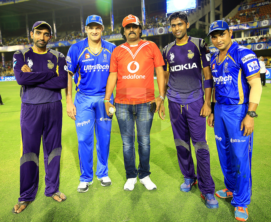 Robin Uthappa of the Kolkata Knight Riders(L TO R) Shane Watson captain of the Rajatshan Royals , Vodafone Winner Suryakumar Yadav of the Kolkata Knight Riders and Pravin Tambe of the Rajatshan Royals  pose for the picture during the oresentation of the  match 25 of the Pepsi Indian Premier League Season 2014 between the Rajasthan Royals and the Kolkata Knight Riders held at the Sardar Patel Stadium, Ahmedabad, India on the 5th May  2014<br /> <br /> Photo by Sandeep Shetty / IPL / SPORTZPICS      <br /> <br /> <br /> <br /> Image use subject to terms and conditions which can be found here:  http://sportzpics.photoshelter.com/gallery/Pepsi-IPL-Image-terms-and-conditions/G00004VW1IVJ.gB0/C0000TScjhBM6ikg