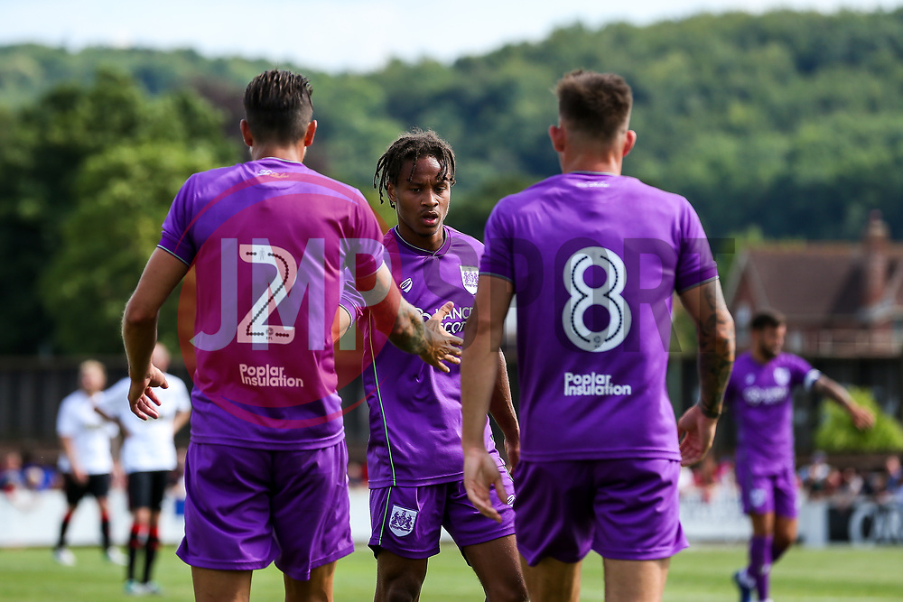 Bobby Reid congratulates goalscorer Josh Brownhill of Bristol City - Rogan/JMP - 09/07/2017 - The Creek - Bristol, England - Bristol Manor Farm v Bristol City - Pre-season Friendly.