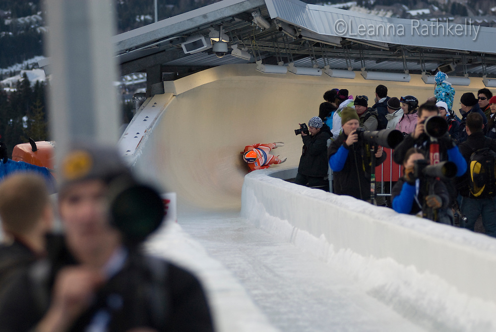 Maciej Kurowski (POL) competes in the Mens Luge at Viessman World Cup in Whistler, BC on Feb 21, 2009