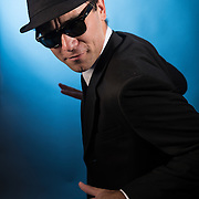 Photo shoot with Trey Maggio as Elwood J. Blues.