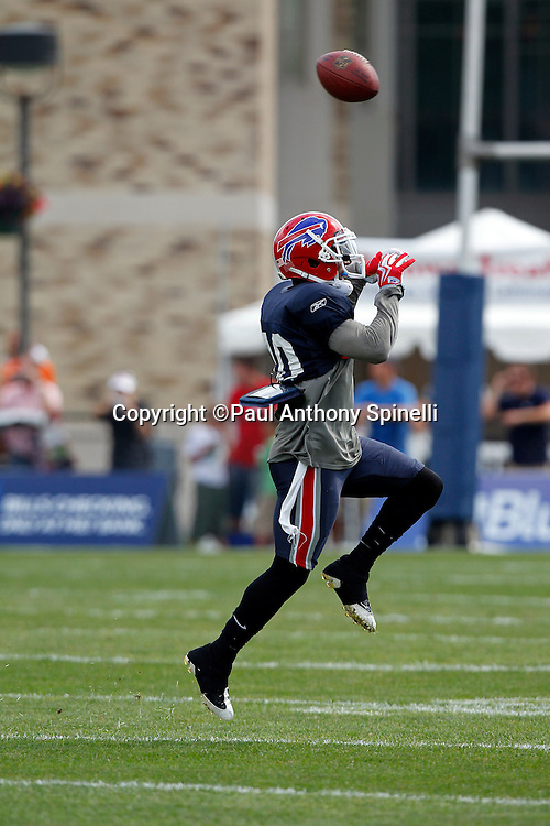 NFL Buffalo Bills cornerback Lydell Sargeant (40) leaps to catch a pass during training camp at St. John Fisher College on August 5, 2010 in Pittsford, New York. (©Paul Anthony Spinelli)