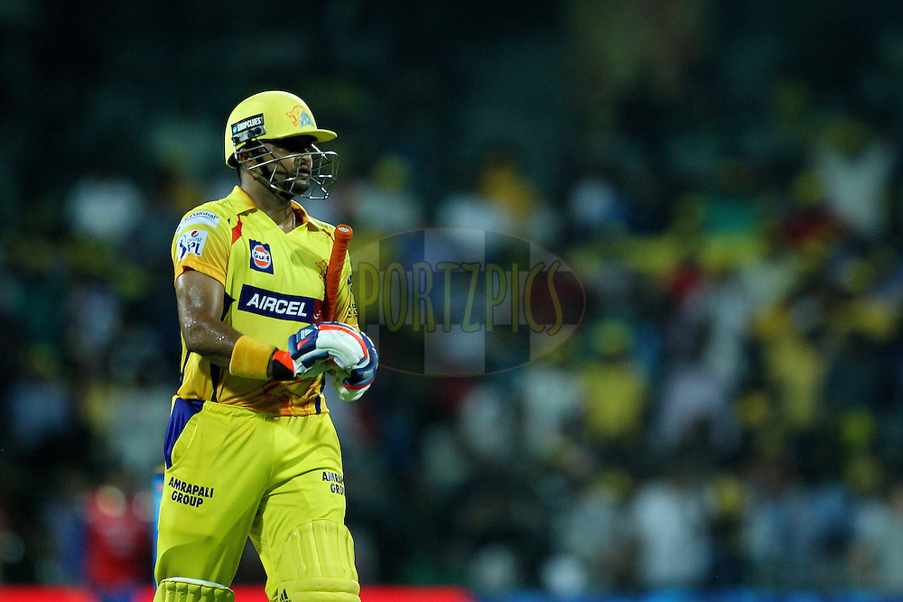 Suresh Raina of the Chennai Superkings departs during match 43 of the Pepsi IPL 2015 (Indian Premier League) between The Chennai Superkings and The Mumbai Indians held at the M. A. Chidambaram Stadium, Chennai Stadium in Chennai, India on the 8th May April 2015.<br /> <br /> Photo by:  Ron Gaunt / SPORTZPICS / IPL