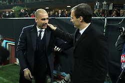 23.11.2011, Giuseppe Meazza Stadion, Mailand, ITA, UEFA CL, Gruppe H, AC Mailand (ITA) vs FC Barcelona (ESP), im Bild Pep Guardiola Barcellona Massimiliano Allegri Milan // during the football match of UEFA Champions league, group H, between Gruppe H, AC Mailand (ITA) and FC Barcelona (ESP) at Giuseppe Meazza Stadium, Milan, Italy on 2011/11/23. EXPA Pictures © 2011, PhotoCredit: EXPA/ Insidefoto/ Paolo Nucci..***** ATTENTION - for AUT, SLO, CRO, SRB, SUI and SWE only *****