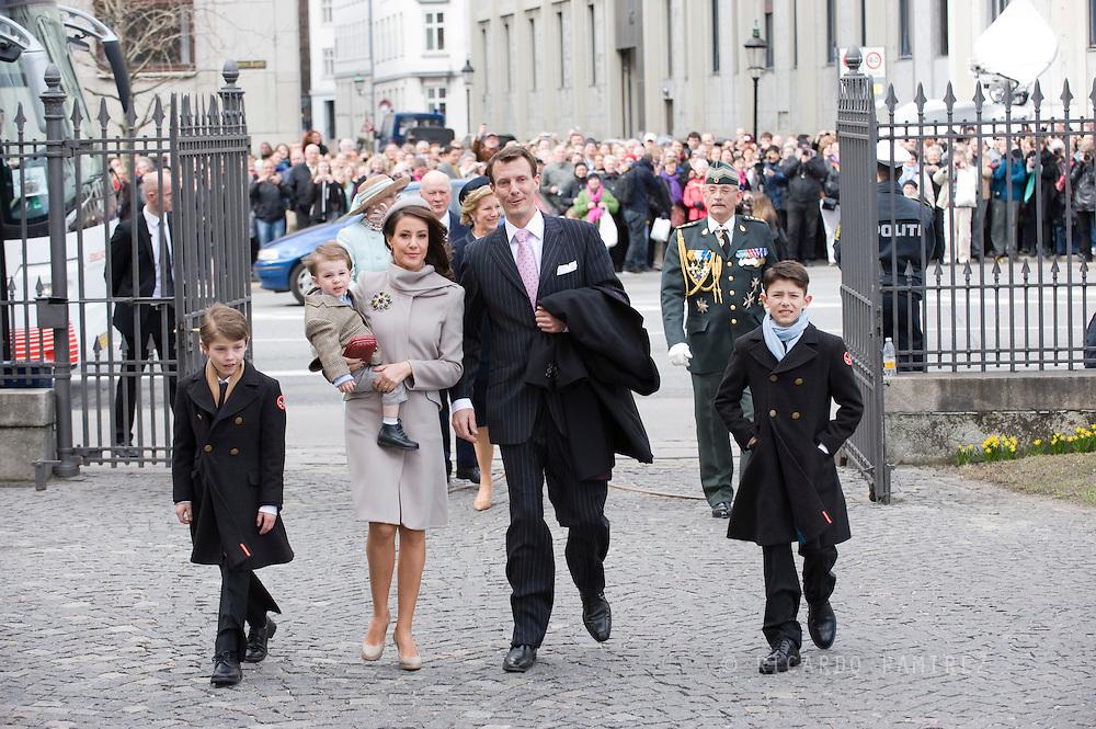 14.04.11. Copenhagen, Denmark.Prince Joachim's, Princess Marie, Prince Felix, Prince Nicolai, Prince Henrikarrival to the Holmens Church to christening ceremony.Photo: Ricardo Ramirez