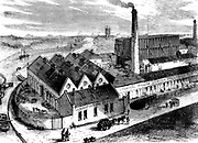 Webb's chemical factory, Diglis, Worcestershire. The tall building to right behind chimney contains lead chambers for production of Sulphuric Acid. Wood engraving c1860.