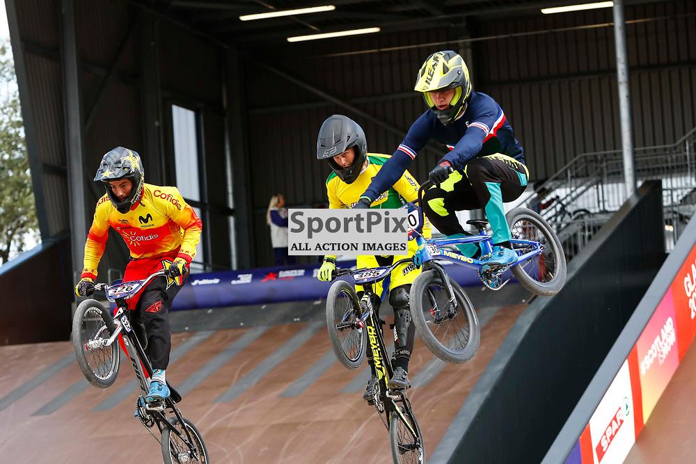 Arthur Piladr (FRA), Alejandro Alcojor Ramos (ESP) & Lukas Karalius (LTU) get som air off the 1st jump during their warm up.
