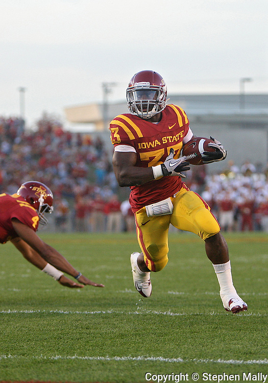 October 9 2010: Iowa State Cyclones running back Alexander Robinson (33) runs 2 yards for a touchdown during the first half of the NCAA football game between the Utah Utes and the Iowa State Cyclones at Jack Trice Stadium in Ames, Iowa on Saturday October 9, 2010. Utah defeated Iowa State 68-27.