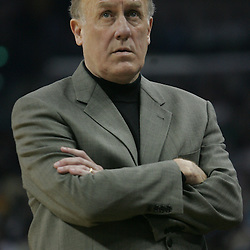 Houston Rockets head coach Rick Adelman looks on from the bench in the second quarter of their NBA game on March 19, 2008 at the New Orleans Arena in New Orleans, Louisiana.