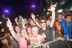 Fans watch Wretch 32 play the King Tut's Wah Wah Tent..T in the Park on Friday 8th July 2011. T in the Park 2011 music festival takes place from 7-10th July 2011 in Balado, Fife, Scotland..©Pic : Michael Schofield.