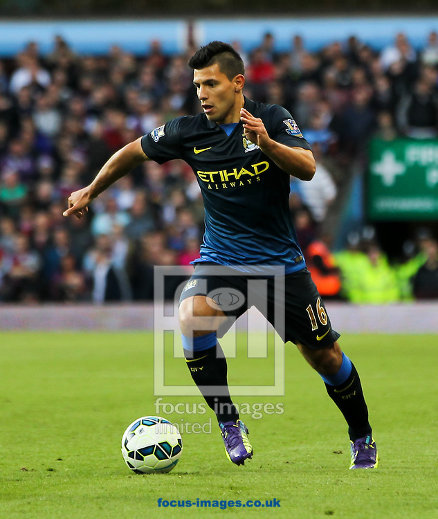Sergio Ag&uuml;ero of Manchester City in possession of the ball during the Barclays Premier League match at Villa Park, Birmingham<br /> Picture by Tom Smith/Focus Images Ltd 07545141164<br /> 04/10/2014