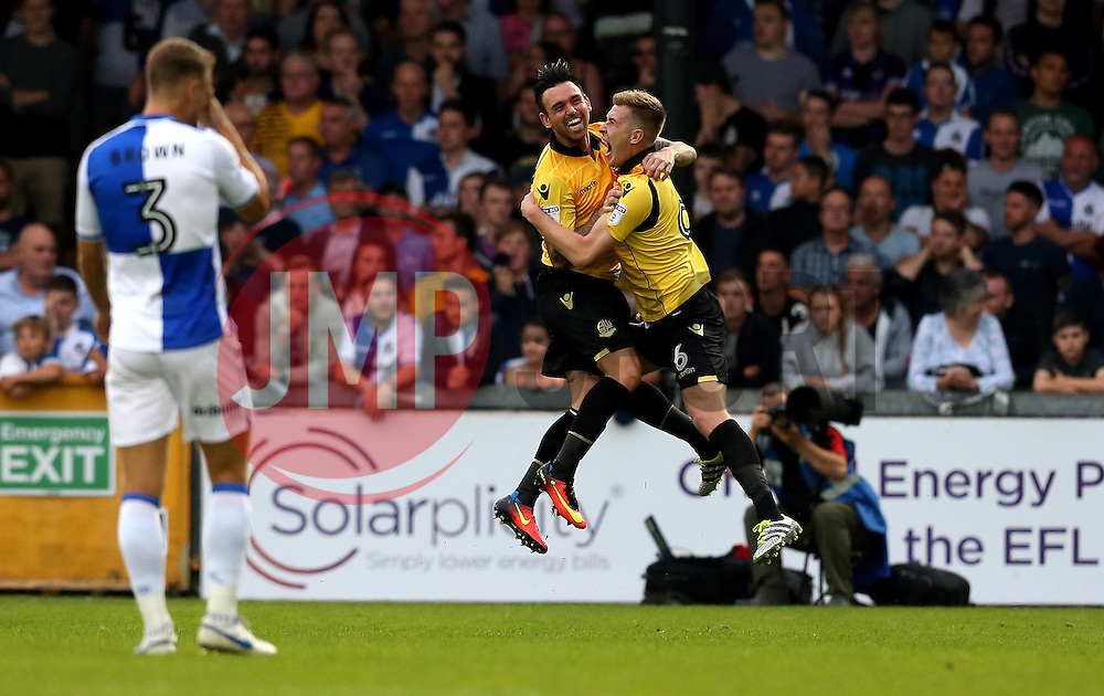 Josh Vela of Bolton Wanderers celebrates with Mark Davies of Bolton Wanderers after scoring a goal against Bristol Rovers - Mandatory by-line: Robbie Stephenson/JMP - 17/08/2016 - FOOTBALL - Memorial Stadium - Bristol, England - Bristol Rovers v Bolton Wanderers - Sky Bet League One