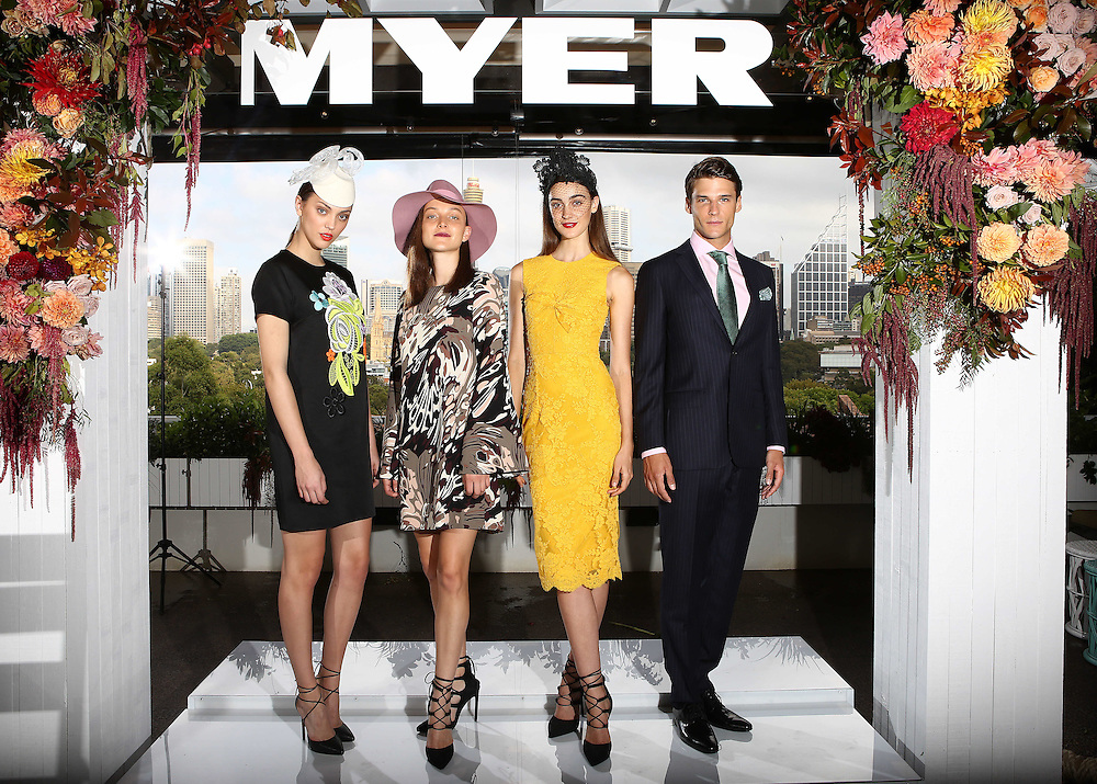 Myer Autum Racing Carnival Wear Launch L-R, Neus Bermejo, Ollie Henderson, Charlotte Morton and Tom Bottcher