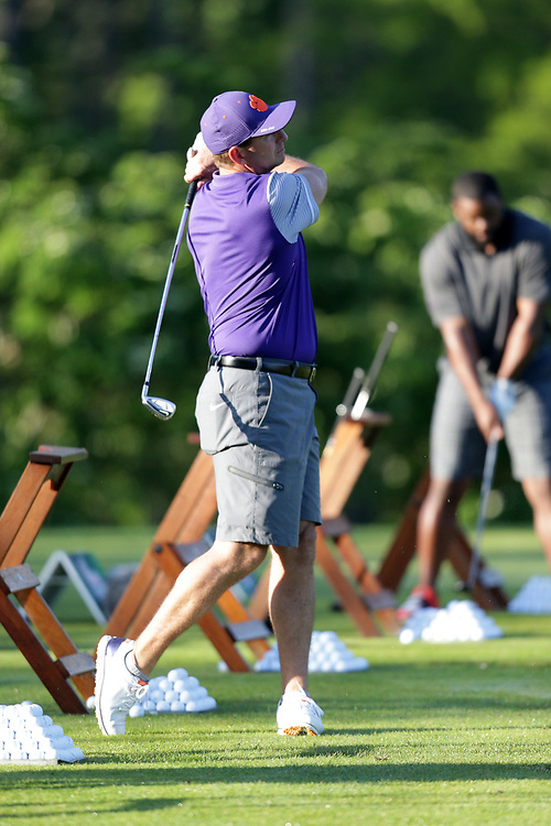 Dabs Swinney warms up during the Chick-fil-A Peach Bowl Challenge at the Oconee Golf Course at Reynolds Plantation, Sunday, May 1, 2018, in Greensboro, Georgia. (Marvin Gentry via Abell Images for Chick-fil-A Peach Bowl Challenge)