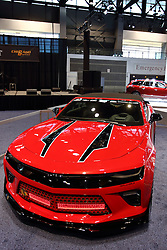 09 February 2017: Chicago Blackhawks Camero <br /> <br /> First staged in 1901, the Chicago Auto Show is the largest auto show in North America and has been held more times than any other auto exposition on the continent.  It has been  presented by the Chicago Automobile Trade Association (CATA) since 1935.  It is held at McCormick Place, Chicago Illinois<br /> #CAS17