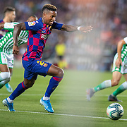 BARCELONA, SPAIN - August 25:  Nelson Semedo #2 of Barcelona in action during the Barcelona V  Real Betis, La Liga regular season match at  Estadio Camp Nou on August 25th 2019 in Barcelona, Spain. (Photo by Tim Clayton/Corbis via Getty Images)