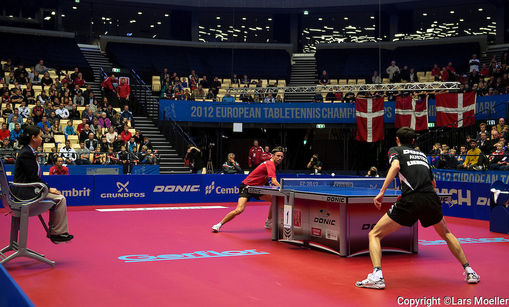Herning, Denmark, 20121019: European Tabletennis Championships 2012 in Jyske Bank Boxen in Herning. Michael Maze (DEN) lost his first match to  Stefan Fegerl (AUT) and is out of the tournament. .Photo: Lars Moeller