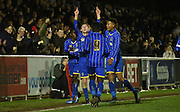 Wimbledon celebrate their equaliser during the FA Youth Cup match between U18 AFC Wimbledon and U18 Chelsea at the Cherry Red Records Stadium, Kingston, England on 9 February 2016. Photo by Michael Hulf.