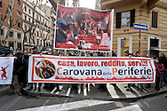 Rome, Italy 23th January 2016<br /> The movements for the right to housing and the caravan of the suburbs, protesting in front  the theater Brancaccio,to ask for the stop of the evictions, where there is  a manifestation  of the Democratic Party for the local  elections in Rome.