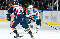 KELOWNA, CANADA, JANUARY 25: Shane McColgan #18 of the Kelowna Rockets skates with the puck as the Kamloops Blazers visit the Kelowna Rockets on January 25, 2012 at Prospera Place in Kelowna, British Columbia, Canada (Photo by Marissa Baecker/Getty Images) *** Local Caption ***