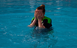 LARNACA, CYPRUS - Monday, March 5, 2018: Wales' Kylie Nolan during a post-match recovery session at the Palm Beach Hotel & Bungalows in Larnaca after the game against Switzerland on day seven of the Cyprus Cup tournament. (Pic by David Rawcliffe/Propaganda)