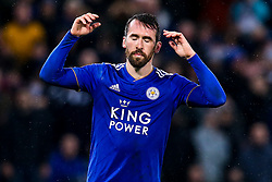Christian Fuchs of Leicester City cuts a frustrated figure after missing his penalty - Mandatory by-line: Robbie Stephenson/JMP - 18/12/2018 - FOOTBALL - King Power Stadium - Leicester, England - Leicester City v Manchester City - Carabao Cup Quarter Finals