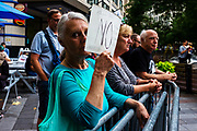 A counter-protester at the Freedom Rally at Westlake Park. Seattle, WA. August 13, 2017.