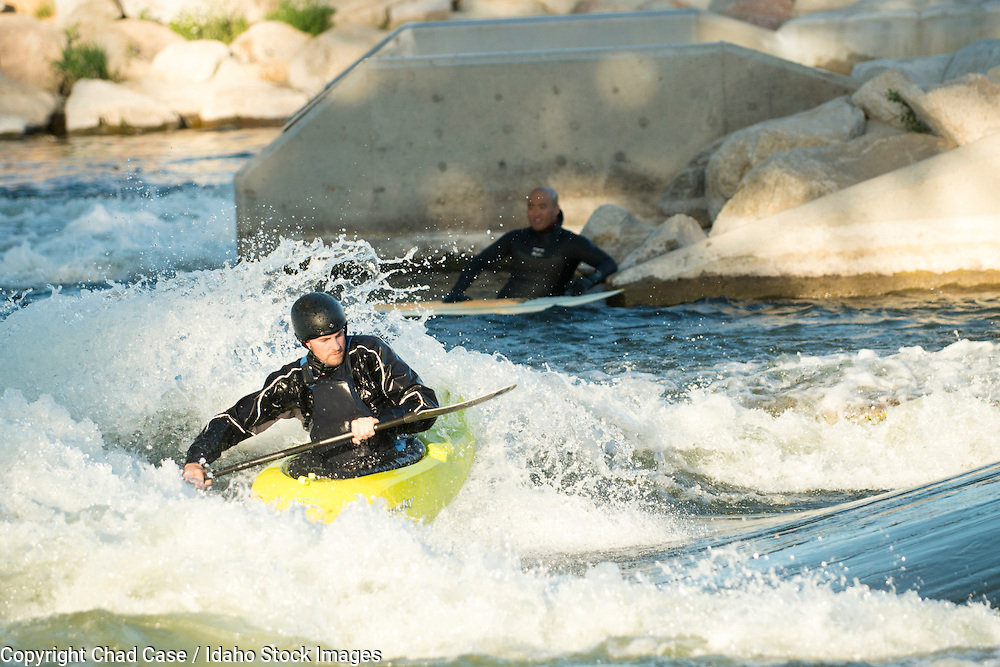 Recreating in the Boise whitewater park along the greenbelt.