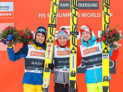19.03.2017, Vikersundbakken, Vikersund, NOR, FIS Weltcup Ski Sprung, Raw Air, Vikersund, Finale, im Bild Noriaki Kasai (JPN, 2. Platz), Tagessieger Kamil Stoch (POL), Michael Hayboeck (AUT, 3. Platz) // 2nd placed Noriaki Kasai of Japan, Day Winner Kamil Stoch of Poland, 3rd placed Michael  Hayboeck of Austria  //  during the 4th Stage of the Raw Air Series of FIS Ski Jumping World Cup at the Vikersundbakken in Vikersund, Norway on 2017/03/19. EXPA Pictures © 2017, PhotoCredit: EXPA/ Tadeusz Mieczynski