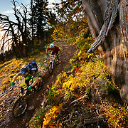 Andrew Whiteford and Jake Hawkes ride the lift accessed Grand Traverse Trail on Grand Targhee off of Fred's Mountain.