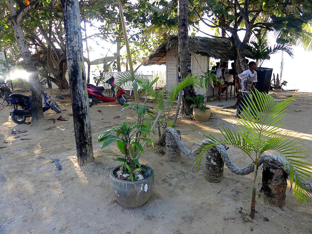 beach bar showing rope fence, Las terrenas, Dominican Republic