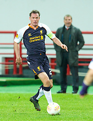 MOSCOW, RUSSIA - Thursday, November 8, 2012: Liverpool's Jamie Carragher in action against FC Anji Makhachkala during the UEFA Europa League Group A match at the Lokomotiv Stadium. (Pic by David Rawcliffe/Propaganda)