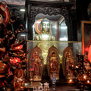 An array of several statues at the Jade Emperor Pagoda in the Da Kao district of Ho Chi Minh City, Vietnam. The Chinese temple was built in 1909 and contains elements of both Buddhist and Taoist religions.