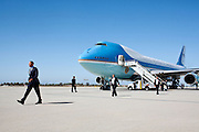 06.JUNE.2012. LOS ANGELES<br /> <br /> PRESIDENT BARACK OBAMA WALKS ACROSS THE TARMAC AT LOS ANGELES INTERNATIONAL AIRPORT IN LOS ANGELES, CALIF., JUNE 6, 2012.  <br /> <br /> BYLINE: EDBIMAGEARCHIVE.CO.UK<br /> <br /> *THIS IMAGE IS STRICTLY FOR UK NEWSPAPERS AND MAGAZINES ONLY*<br /> *FOR WORLD WIDE SALES AND WEB USE PLEASE CONTACT EDBIMAGEARCHIVE - 0208 954 5968*