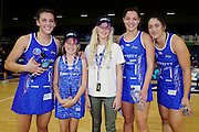 ANZ VIP Cam Dufty aged 12 (L) and Caitlyn Degroen aged 13 (R) with Nadia Loveday, Katherine Coffin and Sulu Tone-Fitzpatrick of the Mystics. 2015 ANZ Championship, Northern Mystics v Canterbury Tactix, The Trusts Arena, Auckland, New Zealand. 3 May 2015. Photo: Anthony Au-Yeung / www.photosport.co.nz