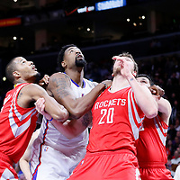 11 February 2015: Los Angeles Clippers center DeAndre Jordan (6) vies for the rebound with Houston Rockets forward Donatas Motiejunas (20), Houston Rockets forward Trevor Ariza (1), and Houston Rockets forward Kostas Papanikolaou (16) during the Los Angeles Clippers 110-95 victory over the Houston Rockets, at the Staples Center, Los Angeles, California, USA.