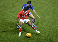 Bristol City's Kieran Agard shields the ball.- Photo mandatory by-line: Alex James/JMP - Mobile: 07966 386802 - 29/01/2015 - SPORT - Football - Bristol - Ashton Gate - Bristol City v Gillingham - Johnstone Paint Trophy Southern area final