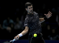 2018?11?12?.       ?????1???——ATP???????????????????.      11?12??????????? .      ???????????2018ATP????????????????????????????2?0???????????.       ????????.(SP)BRITAIN-LONDON-TENNIS-ATP WORLD TOUR FINALS-DAY 2 .(181112) -- LONDON, Nov. 12, 2018  Novak Djokovic of Serbia competes during his singles match against John Isner of the United States during Day Two of the 2018 ATP World Tour Finals at the O2 Arena in London, Britain on Nov. 12, 2018. (Credit Image: © Xinhua via ZUMA Wire)