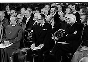 Inaugeration of Cearbhall O'Dalaigh as President  (H77).1974..19.12.1974..12.19.1974..19th December 1974..Following the sudden death of President Erskine Childers, Mr Cearbhall O'Dalaigh was nominated by The Fianna Fail party as its candidate to replace him. The Fine Gael /Labour coalition government did not oppose the nomination and Mr O'Dalaigh was elected un-opposed on a joint party agreement...Members of the different religious demoninations and other dignitaries enjoying a lighter moment during the inaugeration.