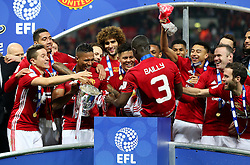 Eric Bailly of Manchester United celebrates with his team mates - Mandatory by-line: Matt McNulty/JMP - 26/02/2017 - FOOTBALL - Wembley Stadium - London, England - Manchester United v Southampton - EFL Cup Final