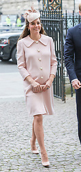 LONDON- UK -09-MAR-2015- The Queen, accompanied by The Duke of Edinburgh,<br /> The Prince of Wales, The Duchess of Cornwall and The Duke and Duchess of Cambridge will attend the annual Commonwealth Observance in Westminster Abbey.<br /> Prince Charles, Camilla, Prince William, Catherine The Duchess of Cambridge.<br /> Photo by Ian Jones