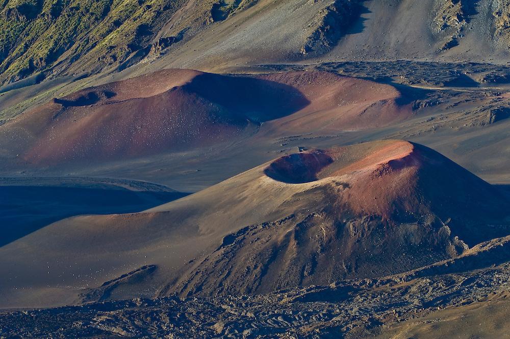 Pu'u o Pele and Pu'u o Maui cinder cones in Haleakala Crater; Haleakala National Park, Maui, Hawaii.