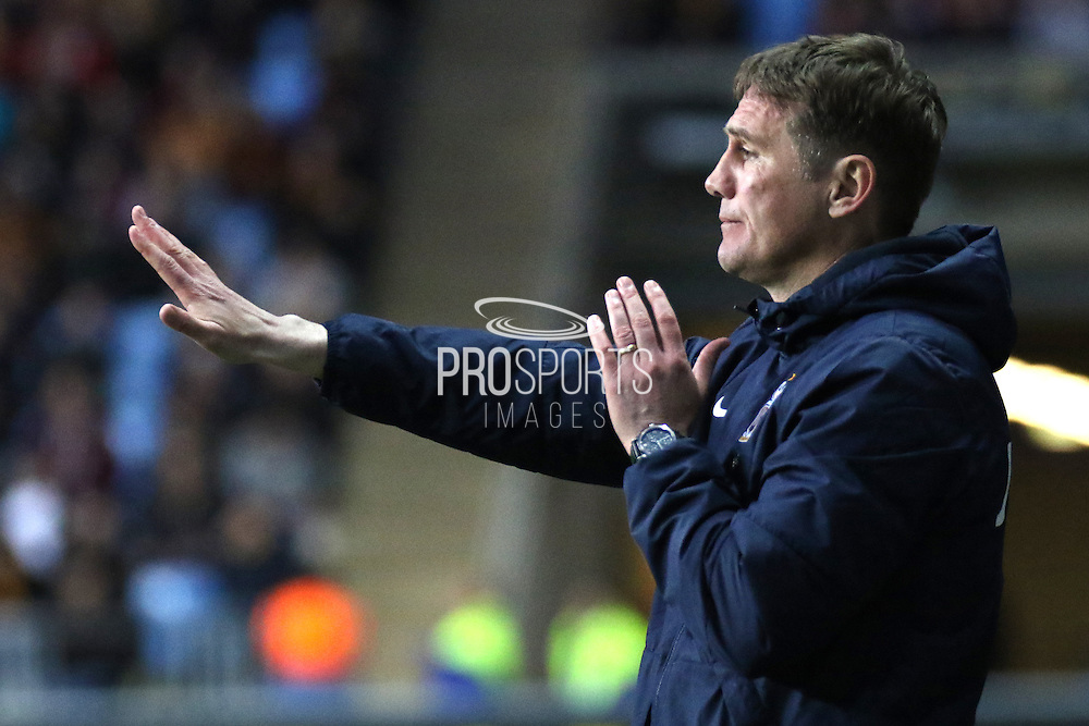 Bradford City Manager Phil Parkinson giving out instructions during the Sky Bet League 1 match between Coventry City and Bradford City at the Ricoh Arena, Coventry, England on 19 April 2016. Photo by Chris Wynne.