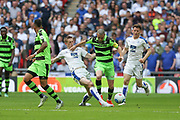 Forest Green Rovers Liam Noble(15) runs forward during the Vanarama National League Play Off Final match between Tranmere Rovers and Forest Green Rovers at Wembley Stadium, London, England on 14 May 2017. Photo by Shane Healey.