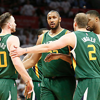 30 April 2017: Utah Jazz center Boris Diaw (33)m Utah Jazz forward Gordon Hayward (20), Utah Jazz forward Joe Ingles (2) and Utah Jazz forward Derrick Favors (15) are seen during the Utah Jazz 104-91 victory over the Los Angeles Clippers, during game 7 of the first round of the Western Conference playoffs, at the Staples Center, Los Angeles, California, USA.