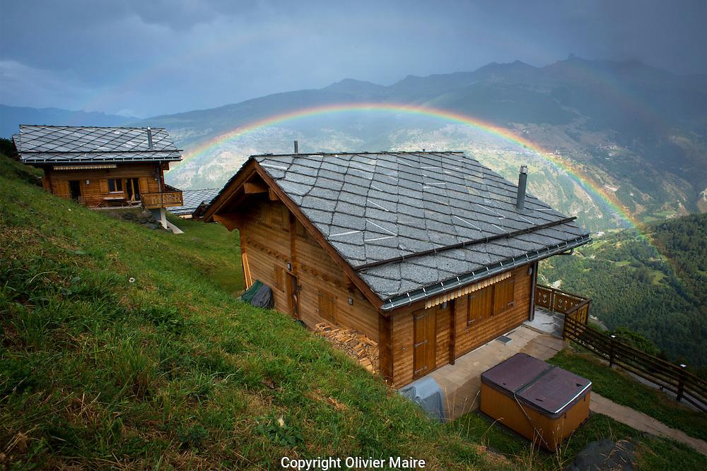 Des chalets et habitations et constructions en Valais 23 aout 2012.<br /> (OLIVIER MAIRE/PHOTO-GENIC.CH).