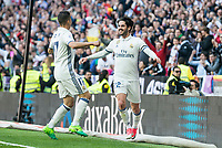 "Real Madrid's Lucas Vazquez and Francisco Roman ""Isco"" during La Liga match between Real Madrid and Deportivo Alaves at Stadium Santiago Bernabeu in Madrid, Spain. April 02, 2017. (ALTERPHOTOS/BorjaB.Hojas)"