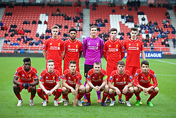 LIVERPOOL, ENGLAND - Tuesday, December 9, 2014: Liverpool's players line up for a team group photograph before the UEFA Youth League Group B match at Langtree Park. Back row L-R: Daniel Cleary, Jerome Sinclair, goalkeeper Ryan Fulton, Corey Whelan, Samuel Hart. Front row L-R: Oviemuno Ejaria Sheyi Ojo, Ryan Kent, Sergi Canos, captain Jordan Rossiter, Joe Maguire, Pedro Chirivela. (Pic by David Rawcliffe/Propaganda)