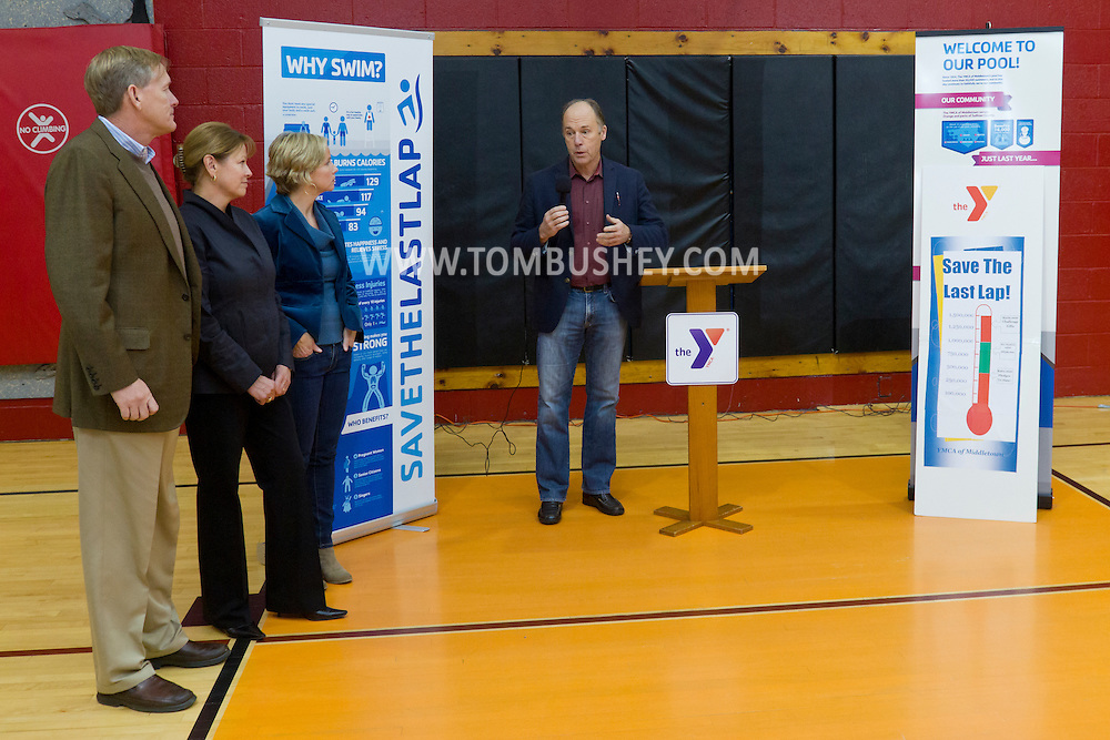 Middletown, New York - People attend a Savethelastlap event at the Middletown YMCA on  Nov. 21, 2014. The campaign is to raise money for the YMCA pool.